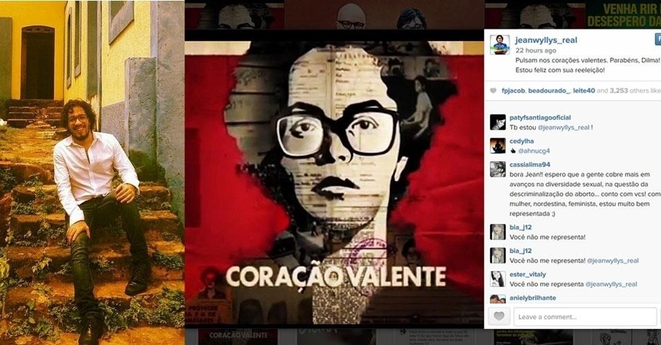 """27.out.2014 - O deputado federal Jean Wyllys comemorou a reeleição de Dilma Rousseff (PT) com um post no Instagram - rede social de compartilhamento de fotos. """"Pulsam nos corações valentes. Parabéns, Dilma! Estou feliz com sua reeleição!"""", publicou"""