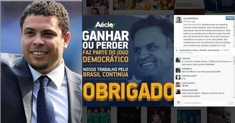 """27.out.2014 - O ex-jogador Ronaldo, que apoiou o candidato Aécio Neves durante a campanha eleitoral, comentou no Instagram - rede social de compartilhamento de fotos - sobre a derrota do candidato. """"parabéns pela sua trajetória honrada nestas eleições. Você me representa. E representa mais de 50 milhões de brasileiros. Você colocou as soluções para o Brasil no lugar de onde elas não deveriam ter saído: acima dos interesses específicos de cada um ou de cada partido. Seu compromisso com a mudança foi capaz de dialogar com as diferenças. Sempre acreditei em você, irmão, e ganhar ou perder faz parte do jogo democrático. Sei que você entrou em campo para jogar pelo Brasil, e não pelo poder. Sigo desejando dias melhores ao nosso povo. E viva a democracia!"""", publicou"""