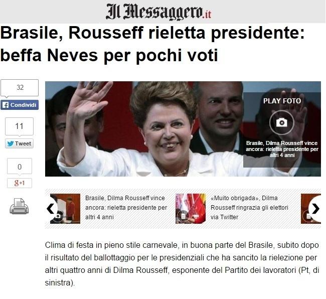 27.out.2014 - O jornal italiano Il Messaggero publicou imagem da presidente reeleita Dilma Rousseff (PT) e afirmou que parte do país lotou as ruas antes mesmo do anúncio oficial da vitória da candidata e festejou como se estivesse em carnaval