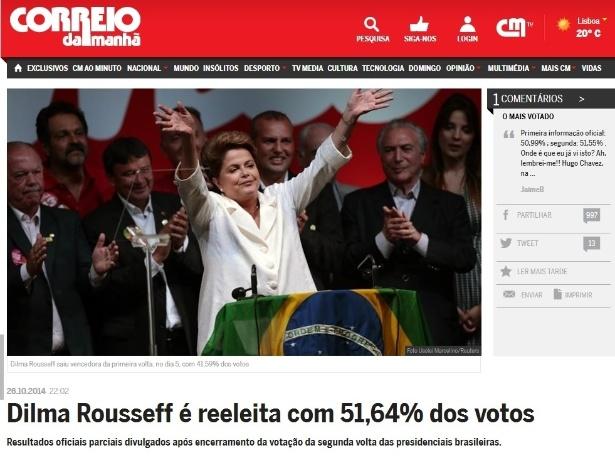 27.out.2014 - O jornal português 'Correio da manhã' publicou a vitória da presidente Dilma Rousseff (PT) contra o candidato Aécio Neves (PSDB) na noite de domingo (26). O periódico ressaltou que este será o segundo mandato da candidata do PT e destacou que a líder disse que quer ser uma presidente melhor que já foi até agora