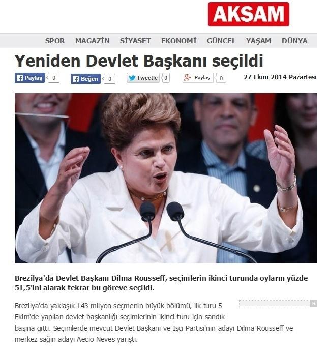27.out.2014 - O jornal turco 'Aksan' divulgou a notícia de que a candidata Dilma Rousseff (PT) foi reeleita no Brasil neste domingo (26).  Na matéria, o jornal informou os turcos que o partido da presidente reeleita chegou ao poder há 12 anos e que se manterá no governo até 2018