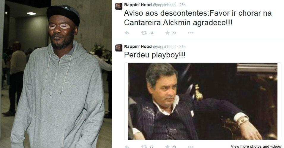 """27.out.2014 - O rapper Rappin' Hood brincou com a derrota do candidato Aécio Neves (PSDB) com dois posts no Twitter. """"Perdeu Playboy"""" e """"Aviso aos descontentes:Favor ir chorar na Cantareira Alckmin agradece!!!"""", publicou"""
