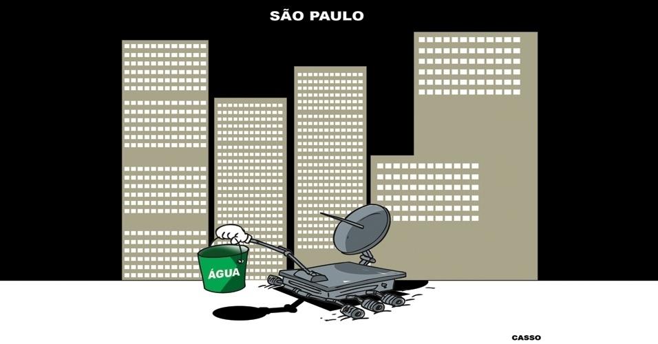 28.out.2014 - O chargista Casso ironiza a crise hídrica que afeta o Estado de São Paulo