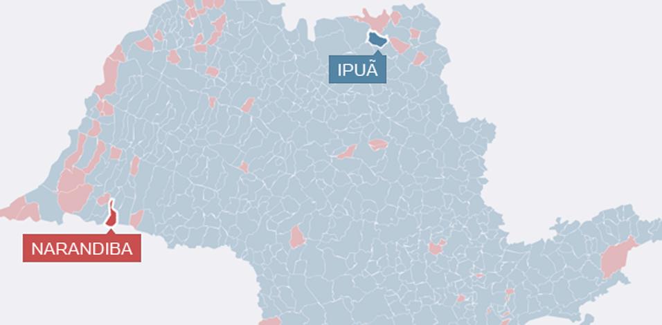 Dois municípios paulistas, Ipuã e Narandiba, tiveram a menor diferença de votos entre os candidatos a presidente no segundo turno. Aécio Neves (PSDB) ganhou por um voto em Ipuã: 4.121 cotra 4.120. Já a presidente reeleita Dilma Rousseff (PT) venceu por apenas um em Narandiba: 1.546 a 1.545