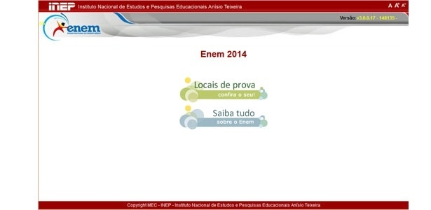 Inep disponibilizou nesta segunda-feira (27) a consulta aos locais de prova do Enem 2014
