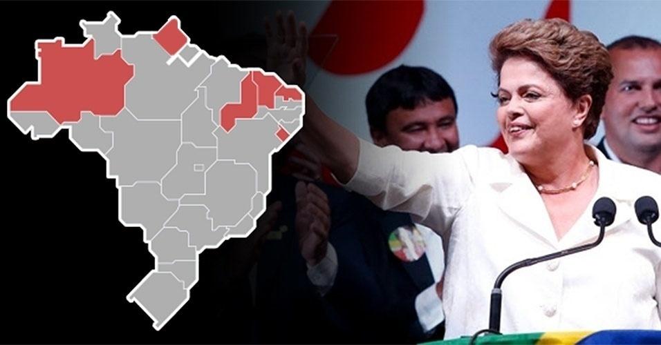 No segundo turno, Dilma Rousseff (PT) venceu em todas as cidades de cinco Estados: Piauí, Amazonas, Ceará, Sergipe e Rio Grande do Norte