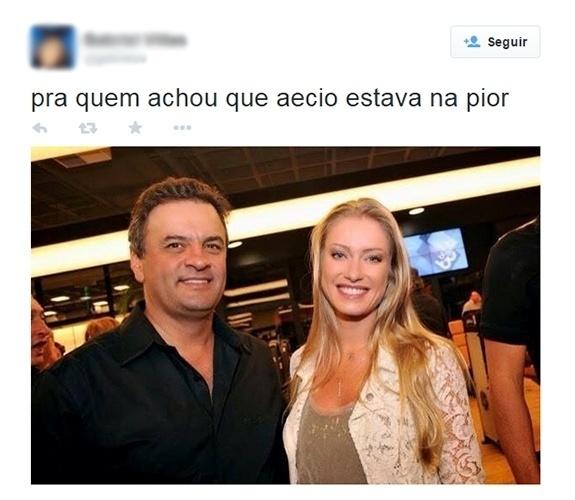 28.out.2014 - Internauta elogia a beleza da mulher do candidato derrotado Aécio Neves