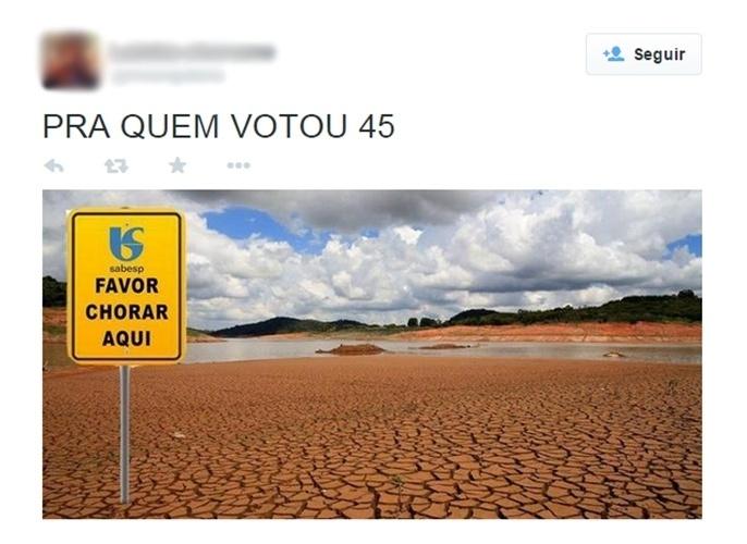 28.out.2014 - Internauta faz brincadeira com a crise hídrica que atinge São Paulo