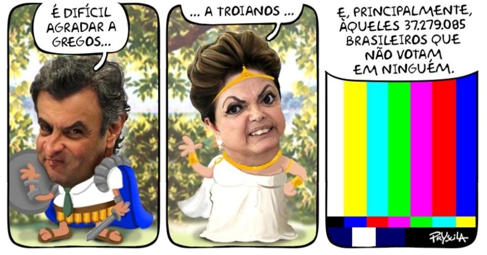 29.out.2014 - A cartunista Pryscila brinca com o alto índice de abstenção somados aos votos brancos e nulos nas eleições presidenciais de 2014