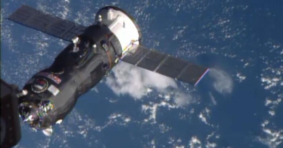 29.out.2014 - O cargueiro espacial russo, com quase três toneladas de carga, se acoplou nesta quinta-feira (29) com sucesso à Estação Espacial Internacional (ISS, na sigla em inglês), segundo a Nasa. O cargueiro leva alimentos, água, oxigênio, além de equipamentos científicos e material de manutenção para os astronautas da ISS