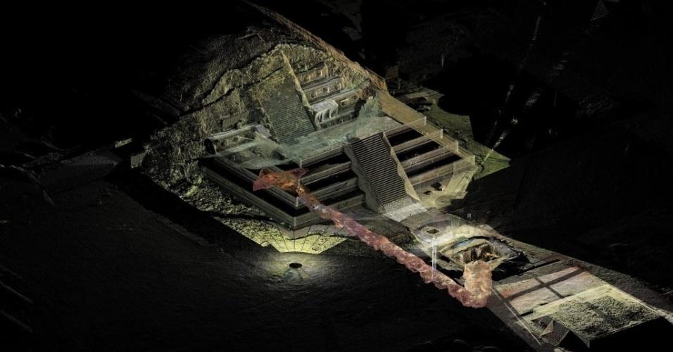 29.out.2014 - O Instituto Nacional de Antropologia e História do México (INAH) divulgou uma ilustração do túnel, que ficou oculto por quase 1.800 anos, em uma pirâmide no sítio arqueológico de Teotihuacan. No túnel de 103 metros foram descobertos mais de 50.000 ofertas, segundo especialistas.