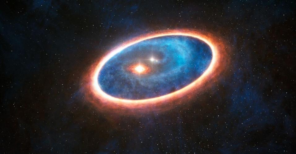 30.out.2014 - Com o auxílio do telescópio Alma astrônomos detectaram, pela primeira vez, uma corrente de gás que flui desde um disco externo massivo até ao interior de um sistema binário de estrelas. Esta configuração, nunca observada até agora, pode ser responsável por manter um segundo disco de formação planetária, menor, que, de outro modo, teria desaparecido completamente há muito tempo. Metade das estrelas do tipo solar nasce em sistemas binários e, por isso, esta descoberta tem consequências importantes na procura de exoplanetas. Os resultados desse estudo foram publicados na revista Nature
