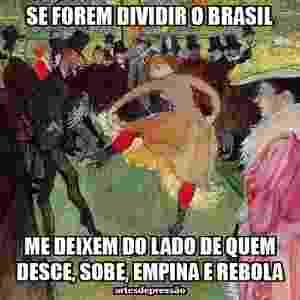 """Com a reeleição da presidente Dilma Rousseff, muitos brasileiros cogitaram a ideia de dividir o país. Um tema mais que propício para o """"Artes Depressão"""", que não poupou as piadas - Reprodução/Facebook/Artes Depressão"""