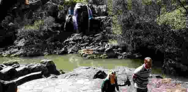 Tursistas visitam cachoeiras quse secas em Poços de Caldas (MG), no sul de Minas Gerais - Ernesto Rodrigues/Folhapress
