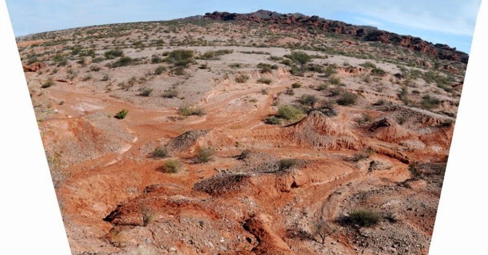 3.nov.2014 - Fotografia cedida pela Universidade de San Juan mostra um depósito de micro fósseis na província de San Juan, na Argentina, em um lugar nomeado pelos pesquisadores como