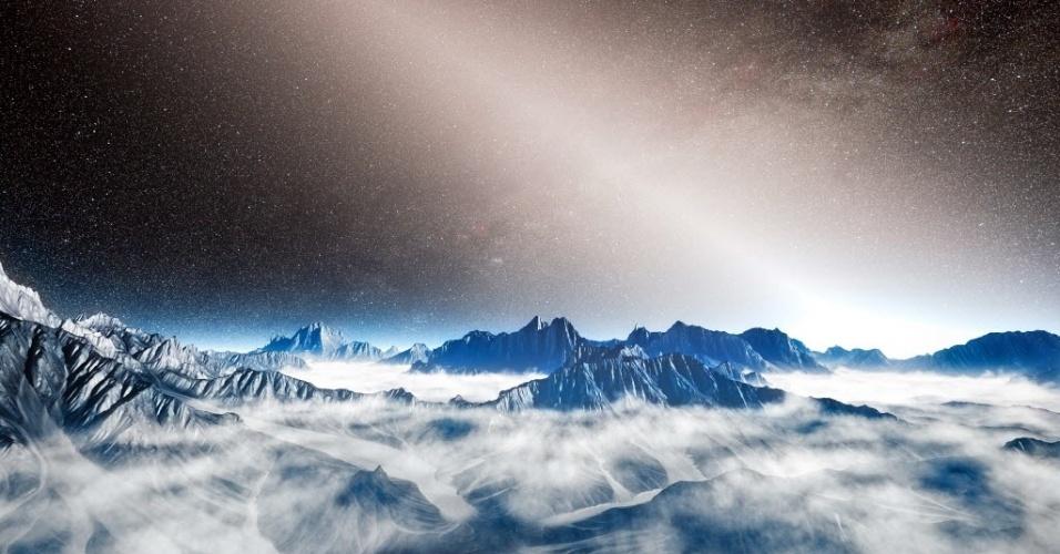 3.nov.2014 - POEIRA NAS FOTOS - Ilustração divulgada pelo European Southern Observatory (Observatório Europeu do Sul, em tradução livre do inglês) mostra um planeta contornado por uma estrela e um brilho refletido pela poeira zodiacal. Esta luz se dá com o resultado de colisões entre asteroides e a evaporação de cometas. A presença de tais nuvens feitas de uma grossa poeira nas regiões em torno de algumas estrelas pode representar um obstáculo à imagem direta de planetas no futuro, como por exemplo,  a Terra