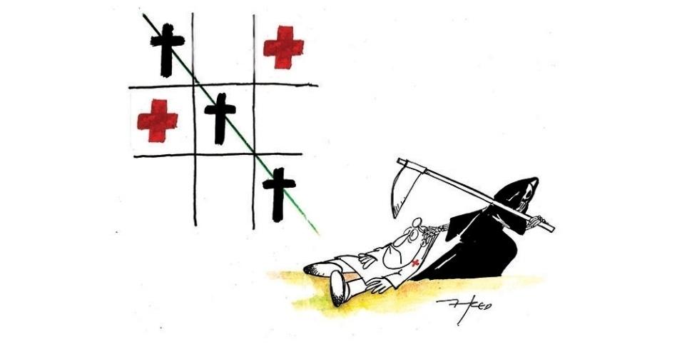 """12.nov.2014 - O chargista Fred critica o """" jogo em se que coloca a saúde entre a vida e a morte"""""""