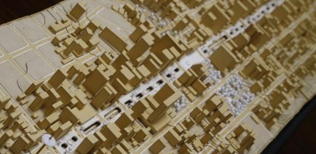 Maquete do projeto Nova Paulista original, que transformaria a avenida em calçadão