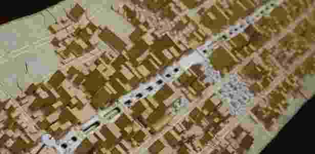 Maquete do projeto Nova Paulista original, que transformaria a avenida em calçadão - Junior Lago/UOL