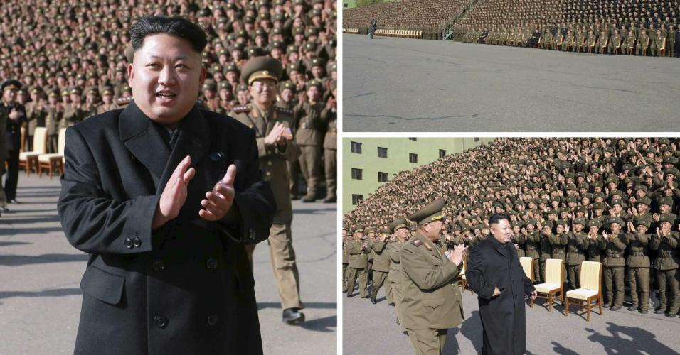 5.nov.2014 - Imagens cedidas pela Agência Central de Notícias da Coreia do Norte (KCNA) mostra o ditador norte-coreano Kim Jong-um caminhando sem bengala durante um evento com os comandantes militares em Pyongyang. Kim Jong-Un ficou seis semanas afastado dos eventos públicos, sem explicações oficiais, e reapareceu caminhando com a ajuda de uma bengala, o que alimentou as especulações sobre seu estado de saúde ou a hipótese de um golpe de Estado no país