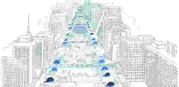 Perspectiva do projeto Nova Paulista revisado pelo arquiteto Nadir Mezerani - Escritório Nadir Mezerani/Reprodução - Escritório Nadir Mezerani/Reprodução