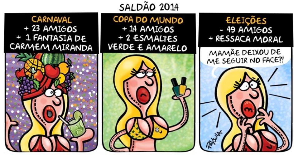 7.nov.2014 - A cartunista Pryscila brinca com o saldão dos eventos que aconteceram em 2014 no país