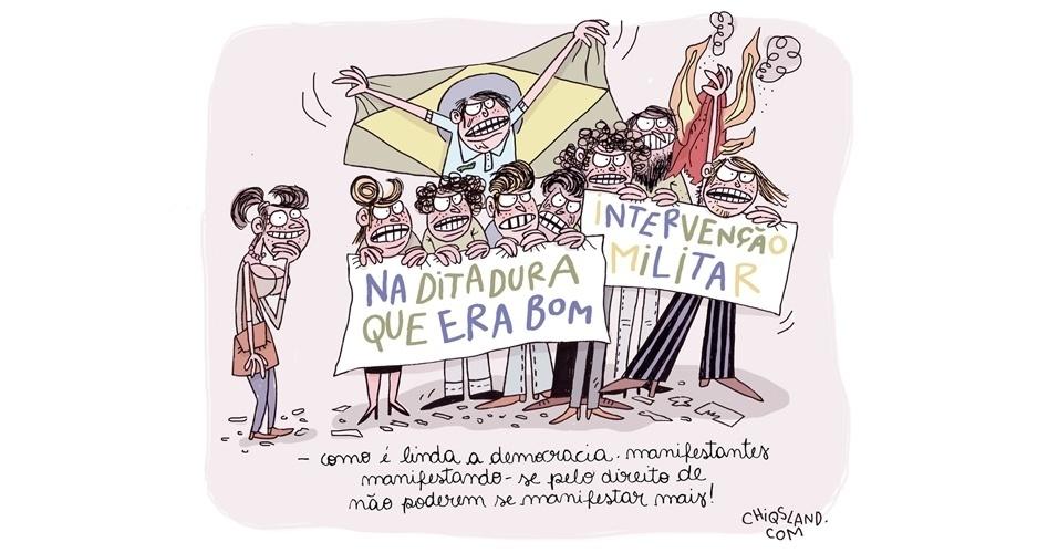 10.nov.2014 - A chargista Chiquinha ironiza a manifestação na avenida Paulista que pediu a intervenção militar no Brasil