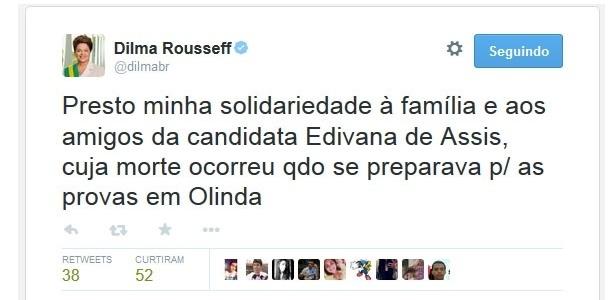 Presidente Dilma comenta morte de jovem que faria o Enem em Olinda (PE) - Reprodução/Twitter