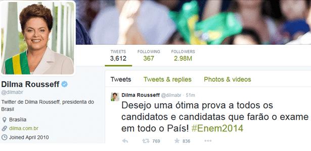 """Presidente Dilma Rousseff deseja """"ótima prova"""" aos participantes - Reprodução/Twitter"""
