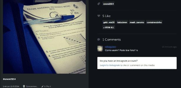 9.nov.2014 - Internauta posta capa de suposto caderno de questão do Enem 2014 - Reprodução/iconosquare
