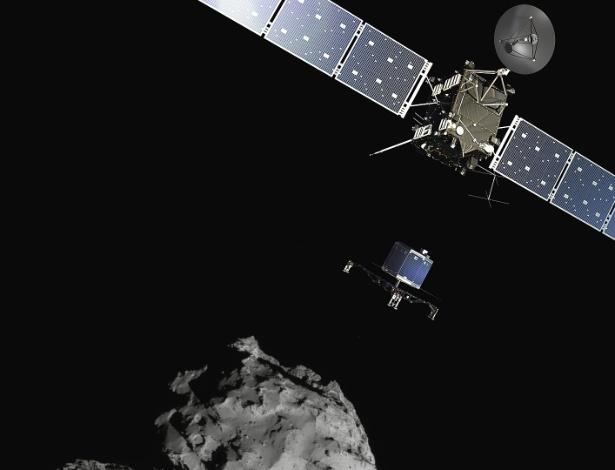 11.nov.2014 - Nesta imagem divulgada pela Agência Espacial Europeia (ESA, em inglês), a ilustração mostra como o robô Philae vai se desprender da sona Rosetta e pousar no cometa 67P/Churyumov-Gerasimenko. A foto do cometa foi feita com a câmera de navegação da Rosetta