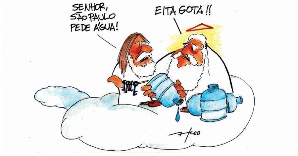 12.nov.2014 - O chargista Fred critica a crise hídrica que afeta o Estado de São Paulo