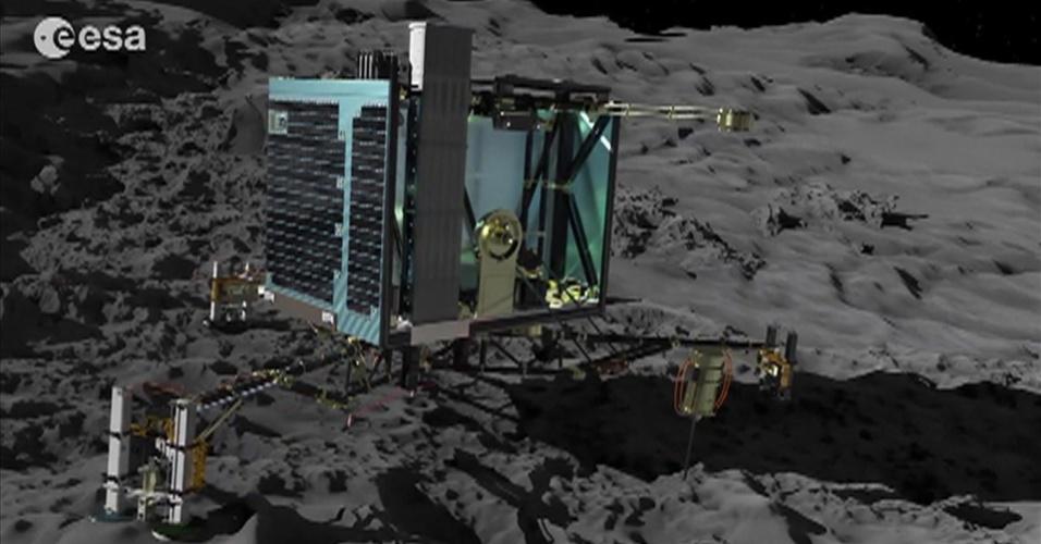 12.nov.2014 - A sonda espacial Rosetta lançou nesta quarta-feira o módulo Philae, na última etapa para tentar pousar no cometa 67/P Churyumov-Gerasimenko