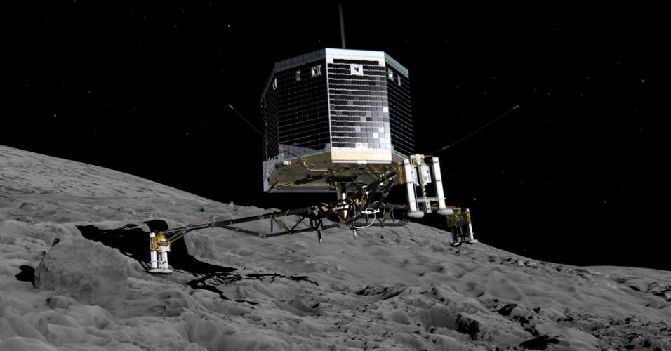 12.nov.2014 - Ilustração divulgada pela ESA (agência espacial europeia) mostra o pouso do robô Philae, da missão Rosetta, no cometa 67P. O robô vai coletar amostras, fazer análises e tirar fotos do cometa que serão enviadas para a central da ESA, na Alemanha. Os cientistas esperam coletar informações sobre a formação da vida