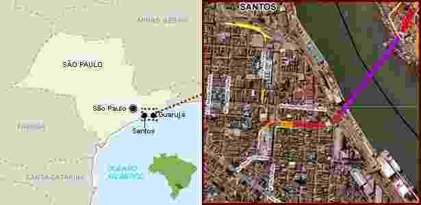 12.nov.2014 - O túnel submerso irá interligar os bairros de Macuco, em Santos, e Vicente de Carvalho, em Guarujá - Reprodução/Arte UOL - Reprodução/Arte UOL