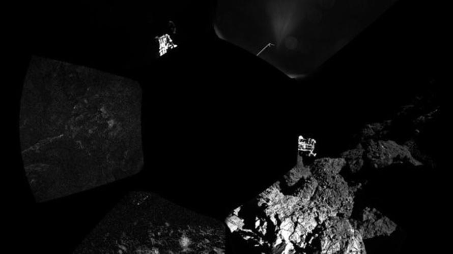13.nov.2014 - As primeiras imagens feitas pelo módulo Philae diretamente da superfície do cometa 67P/ Churyumov-Gerasimenko foram divulgadas nesta quinta-feira (13) pela Agência Espacial Europeia (ESA). A imagem mostra duas fotos produzidas pelo instrumento ÇIVA, que é responsável por fotografar os arredores do robô, e traz um dos três pés do Philae em primeiro plano, na região do cinturão de asteroides entre Marte e Júpter, cerca de 510 milhões de quilômetros da Terra
