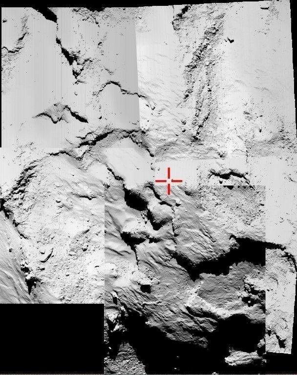 13.nov.2014 - Imagem cedida pela ESA (Agência Espacial Europeia) nesta quinta-feira (13) mostra uma montagem com cinco fotografias capturadas por uma câmera de alta resolução do sistema Osíris, que está a bordo da sonda Rosetta, tenta identificar o ponto de aterrissagem do robô Philae na superfície do cometa 67P/Churyumov-Gerasimenko