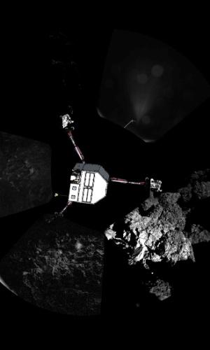 13.nov.2014 - Imagem panorâmica da superfície do cometa 67P/Churyumov-Gerasimenko capturada pelo robô Philae, da missão Rosetta, com um desenho sobreposto, mostra a posição em que poderia estar alojado sobre o cometa. Segundo a ESA (Agência Espacial Europeia), que divulgou a imagem nesta quinta-feira (13), o robô Philae está atracado sobre o cometa, apesar de ter apresentado problemas técnicos na aterrissagem
