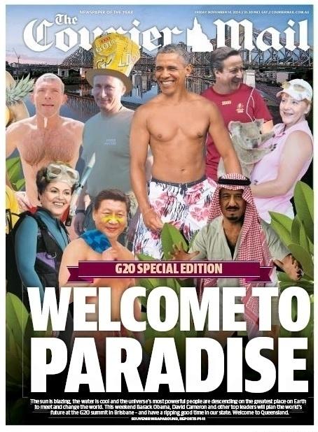 """14.nov.2014 - O jornal australiano """"Courier Mail"""" deu boas-vindas aos líderes do G20 que farão uma cúpula neste fim de semana, em Brisbane, colocando em sua capa desta sexta-feira (14) uma montagem na qual os chefes de Estado aparecem em trajes de banho ou atividades de lazer. A machete diz """"Welcome to Paradise"""" (""""Bem-vindos ao Paraíso""""). A presidente Dilma Rousseff aparece vestindo roupa de mergulho, enquanto o líder norte-americano, Barack Obama, exibe seu físico em um short estampado. Vladimir Putin, presidente da Rússia, David Cameron, primeiro-ministro britânico e Angela Merkel, chanceler alemã, são outros políticos que também aparecem na ilustração"""