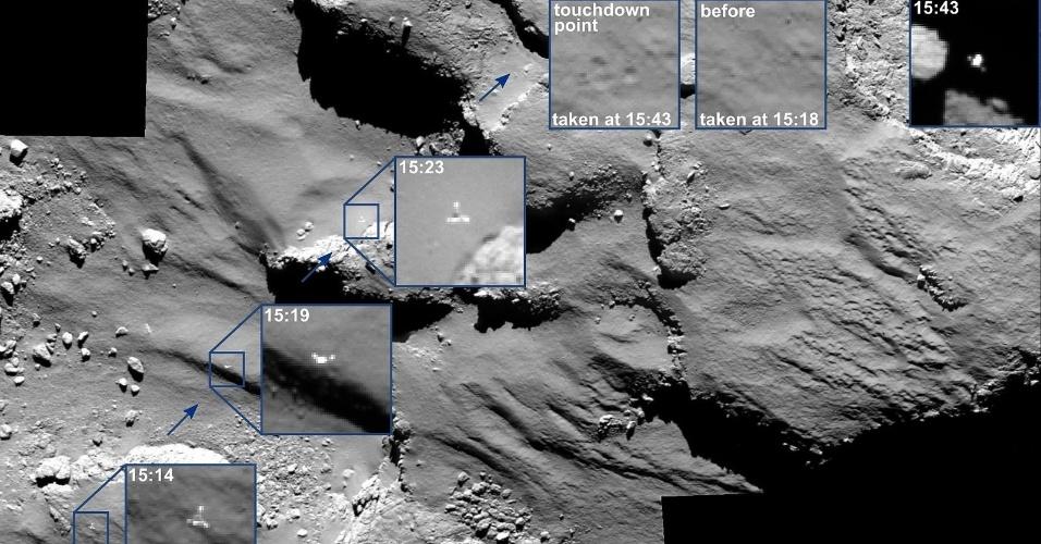 17.nov.2014 - Câmera de navegação da sonda Rosetta flagra trajetória do módulo Philae na superfície do cometa 67P/Churyumov-Gerasimenko. A combinação de imagens, divulgada pela Agência Espacial Europeia (ESA), mostra o local de pouso e onde o robô teve um rebote até pousar no cometa