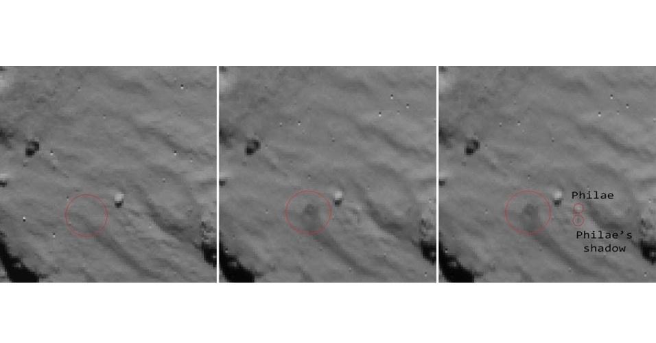 17.nov.2014 - Esta combinação de três fotos, divulgada pela Agência Espacial Europeia (ESA) no dia 16 de novembro, mostra o local de pouso do módulo Philae, visto pela câmera de navegação da sonda Rosetta na superfície do cometa 67P/Churyumov-Gerasimenko. A primeira imagem, à esquerda, foi tirada no dia 12 de novembro, pouco antes da primeira tentativa do módulo se fixar no solo; a segunda imagem, no centro, foi capturada após o módulo tocar o solo. O grande círculo vermelho indica a posição da sombra da nuvem de poeira causada pelo pouso. A terceira imagem, à direita, é a mesma que a segunda, com a provável posição do módulo Philae e sua sombra realçada