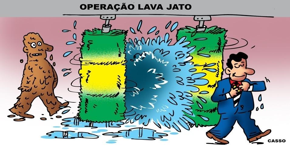 18.nov.2014 - O chargista Casso ironiza a operação Lava Jato, da Polícia Federal, que investiga um esquema bilionário de lavagem e desvios de dinheiro envolvendo a Petrobras