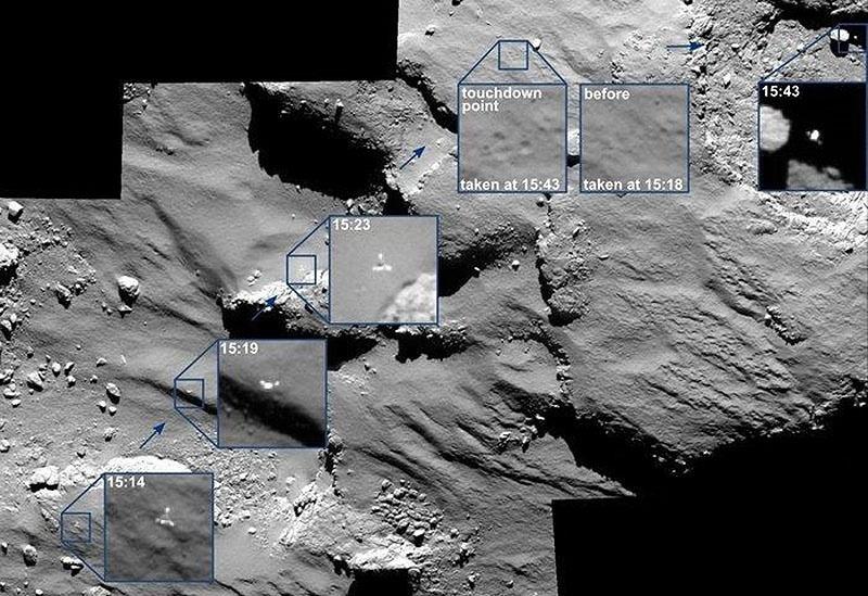 Imagem mostra os pontos em que o robô Philae, da missão Rosetta, quicou na superfície do cometa 67P, em um processo que levou 2 horas