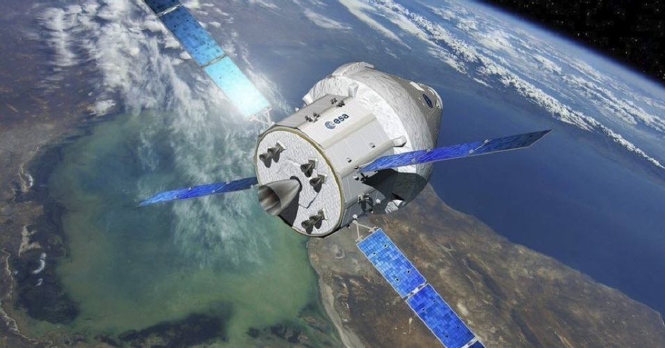 """18.nov.2014 - Imagem feita por computador simula a futura cápsula espacial """"Orion"""" da NASA.  Airbus Defence and Space e a Agência Espacial Europeia (ESA) assinaram nesta segunda-feira (17), em Berlim (Alemanha), um contrato de 390 milhões de euros para desenvolver e construir o módulo que levará astronautas a um asteroide"""