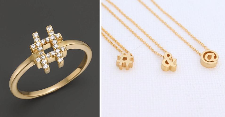 19.nov.2014 - A joalheira Khai Khai vende produtos inspirados em símbolos comuns na internet. À esquerda, um anel de hashtag feito em ouro, por US$ 825. À direita, alguns colares que custam cerca de US$ 60 cada