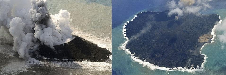 19.nov.2014 - A remota ilha japonesa de Nishinoshima aumentou em cerca de 9 vezes sua dimensão devido à lava que continua sendo expelida de um vulcão desde sua erupção há exatamente um ano, informou a Guarda Costeira do Japão. Na montagem de fotos é possível ver a ilha em 29 de novembro de 2013 (à esq.) e nesta quarta-feira (19) (à dir.). Segundo dados das autoridades japonesas, a ilha é agora 8,6 vezes maior em relação ao seu tamanho na época da primeira erupção, ocorrida em 20 de novembro de 2013