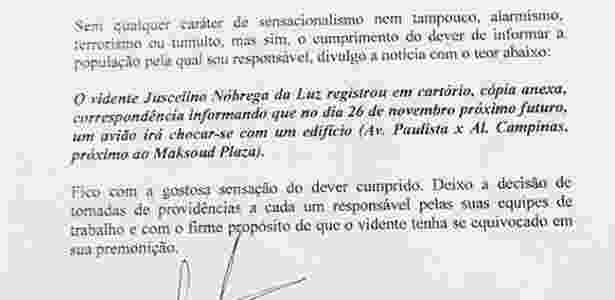 Carta sobre premonição de queda de avião na av. Paulista - Divulgação - Divulgação