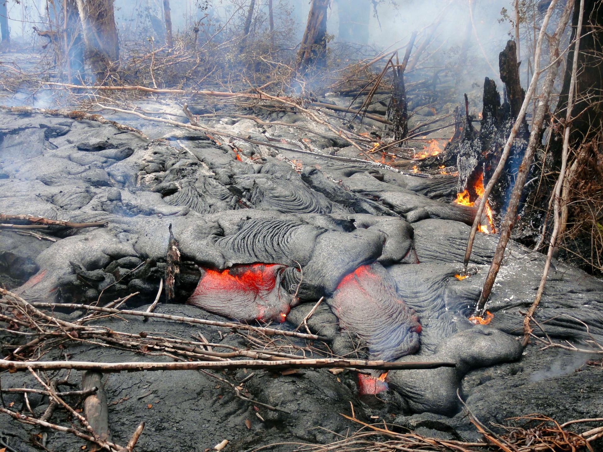 21.nov.2014 - Imagem aérea mostra enxurrada de lava do vulcão Kilauea, que destruiu áreas em Pahoa, no Havaí. Esses fluxos continuam em atividade, queimando a floresta. A imagem foi feita pelo US Geological Survey