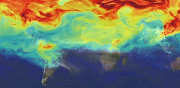 Imagem da Nasa mostra rotas do CO2 ao redor do planeta - Reprodução/Nasa