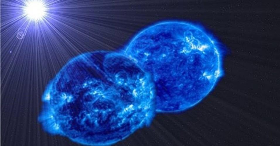 25.nov.2014 - Concepção artística, fornecida pelo IAC (Instituto de Astrofísica das Ilhas Canarias), mostra duas estrelas prestes a se fundir em uma estrela supermassiva. A união das duas estrelas revela o que vários centros de pesquisas espanhóis já haviam observado: que as estrelas mais massivas são formadas pela fusão de estrelas menores. A concepção foi produzida durante o estudo binário MY Camelopardalis e publicado na revista Astronomy & Astrophysics